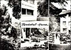 Postcard Thale im Harz, Bodetal, Cafe Waldkater, Terrasse, Fluss, Felsen