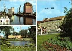 Postcard Anklam in Mecklenburg Vorpommern, Peenehafen, Schwimmhalle, Marktplatz