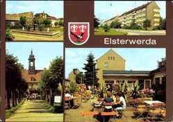 Wappen Ak Elsterwerda in Brandenburg, Wappenbrunnen, Str. des Aufbaus, Cafe