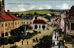 Postcard Brzezany Ukraine, Blick auf den Ringplatz, Friseur