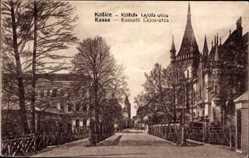 Postcard Košice Kassa Kaschau Slowakei, Kossuth Lajos Utca, Straßenpartie