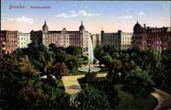 Postcard Wrocław Breslau Schlesien, Matthiasplatz, Fontäne