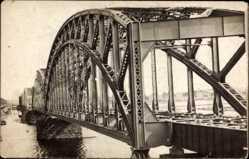 Foto Ak Riga Lettland, Stahlbrücke über dem Fluss, Eisenbahnbrücke