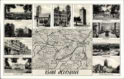 Landkarten Ak Bad Hersfeld in Hessen, Rathaus, Stadtkirche, Robert Heil Turm