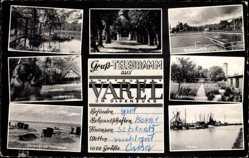 Postcard Varel am Jadebusen, Mühlenteich, Windallee, Urwald, Strandbad, Hafen