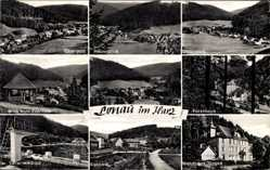 Postcard Lonau Harz, Oberdorf, Heuerblick, Unterdorf, Pavillon, Waldhaus Jürges