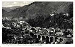 Postcard Hornberg im Ortenaukreis Baden Württemberg, Viadukt mit Stadt und Schloss