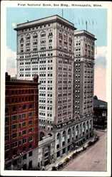 Postcard Minneapolis Minnesota USA, First National Bank, Soo Building