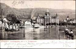 Postcard Bregenz Vorarlberg Österreich, Landungsplatz mit K.u.k. Postgebäude