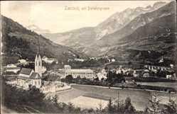 Postcard Landeck Tirol Österreich, Parseiergruppe, Panorama vom Ort, Kirche