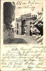 Postcard Santiago de Chile, Cerro santa Lucia, Tor, Felswände