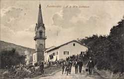 Postcard Fuenterrabia Baskenland, ND de la Guadeloupe, Kirche, Besucher