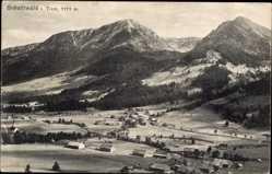 Postcard Schattwald Tirol, Panorama der Ortschaft im Tal, Gebirge