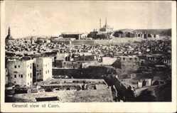 Postcard Cairo Kairo Ägypten, Panorama der Stadt, Moschee, Dachterrassen