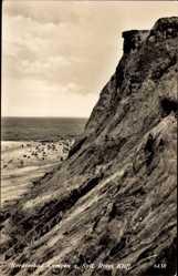 Postcard Nordseebad Kampen auf Sylt, Rotes Kliff, Strandpartie, Meer, Felsen