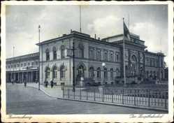 Postcard Braunschweig in Niedersachsen, Blick auf den Hauptbahnhof, Straßenseite