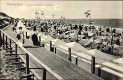Postcard Westerland auf Sylt; Wandelbahn und Strand, Strandkörbe, Meer