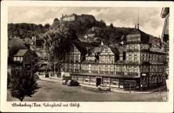 Postcard Blankenburg am Harz, Gebirgshotel mit Schloss, Autos, Straße
