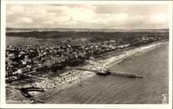Postcard Ostseebad Ahlbeck Heringsdorf, Blick auf den Ort, Fliegeraufnahme