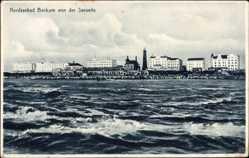 Postcard Insel Borkum im Kreis Leer, Blick auf den Ort von der Seeseite, Leuchtturm