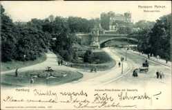 Postcard Hamburg Mitte St. Pauli, Hermann Heinze, Alsterpavillon, Kersten Miles Brücke
