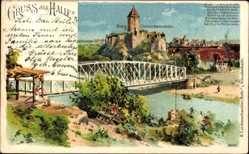 Künstler Litho Halle an der Saale, Burg Giebichenstein, Fluss, Brücke