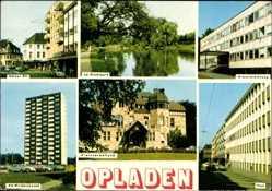 Postcard Opladen Leverkusen, Kölner Str., Kreisverwaltung, Am Weidenbusch