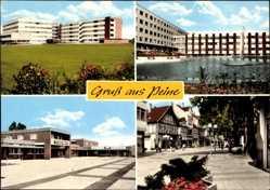 Postcard Peine in Niedersachsen, Eulen Markt, Ladenstraße, Wasserbecken