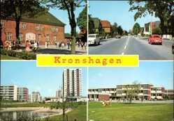Postcard Kronshagen in Schleswig Holstein, Straßenpartie, Schule, Wohnsiedlung