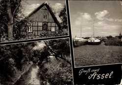 Postcard Assel Drochtersen im Kreis Stade, Kaufhaus D. Köser, Kanalpartie