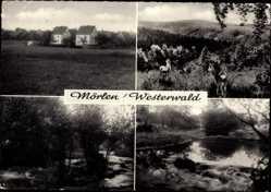 Postcard Mörlen im Westerwald, Hausansichten, Flusspartie, Waldlandschaft