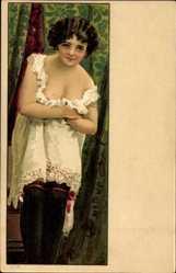 Litho Junge Frau in Unterwäsche, Brust, Schulter, Strümpfe