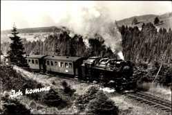 Postcard Ich komme, Deutsche Eisenbahn, Dampflokomotive Nr 99 245