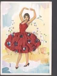 Stoff Ak Spanien, Spanische Tänzerin, Flamenco, Rotes Tanzkleid