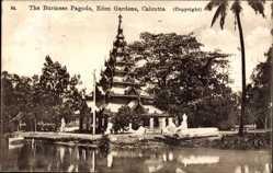 Postcard Kolkata Kalkutta Indien, The Burmese Pagoda, Eden Gardens, Pagode