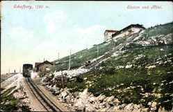 Postcard Salzburg Österreich, Schafberg, Station und Hotel, Photochromie, Schienen