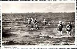 Postcard Dangast Varel am Jadebusen, Nordseebad, Badegäste im Wasser
