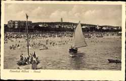 Postcard Ostseebad Ahlbeck Heringsdorf, Blick vom Wasser auf den Strand
