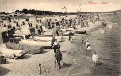 Ak Ostseebad Göhren auf Rügen, Strandpartie mit Herren Bad