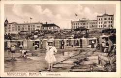 Postcard Insel Borkum im Kreis Leer, Nordseebad, Das Strandleben