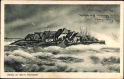 Postcard Hallig Gröde Nordfriesland, Stürmische Nordsee, Häuser