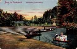 Postcard Burg im Spreewald, Spreehafen, Abfahrtsstelle, Trachten, Spreewaldkahn