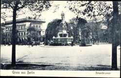 Postcard Berlin Tiergarten, Blick auf den Rolandbrunnen, Platz
