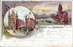 Litho Hamburg Mitte Altstadt, Lagerhäuser, Jungfernbrücke, Freihafen