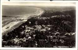 Postcard Ostseebad Heringsdorf auf Usedom, Fliegeraufnahme mit Strand