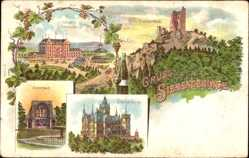 Litho Königswinter im Rhein Sieg Kreis, Drachenburg, Histerbach,Hotel Petersberg
