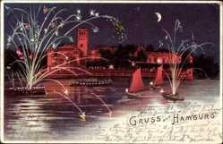Litho Hamburg Nord Uhlenhorst, Feuerwerk am Hafen, Segelboot, Nachtpanorama