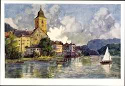 Künstler Ak St. Wolfgang Oberösterreich, Wasserblick, Kirche