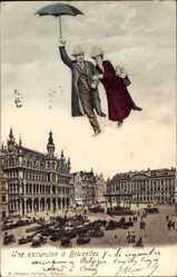 Ak Bruxelles Brüssel, Une excursion, Familie am Schirm, Markt, Fotomontage