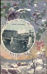 Passepartout Ak Genève Genf Stadt, Les Mouettes, Glückwunsch Neujahr
